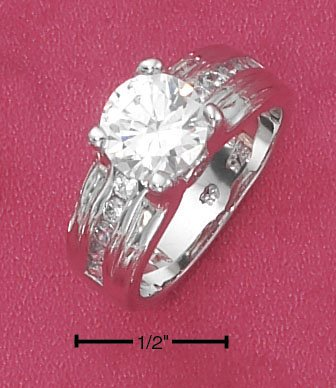 STERLING SILVER  2 CT ROUND CZ SOLATAIRE ENGAGEMENT RING