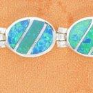 STERLING SILVER SYNTHETIC BLUE OPAL OVAL HINGED LINK BRACELET