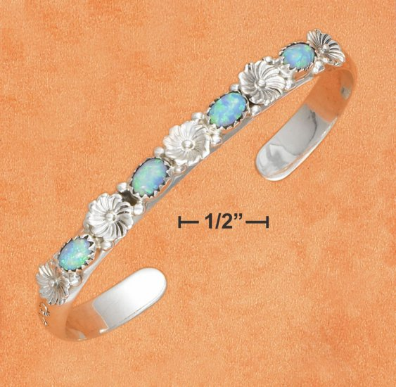 STERLING SILVER FLORAL CUFF BRACELET WITH 4 LAB BLUE OPALS