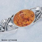 STERLING SILVER LARGE OVAL HONEY AMBER WIRE CUFF BRACELET