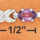 "STERLING SILVER 7"" BRACELET W/  AMETHYST & DIAMOND ACCENT"