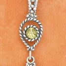 "STERLING SILVER 18"" ROUND,  ROPED PERIDOT PENDANT"