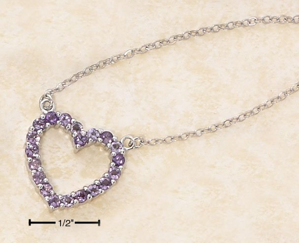 "STERLING SILVER 17"" GENUINE AMETHYST OPEN HEART PENDANT"