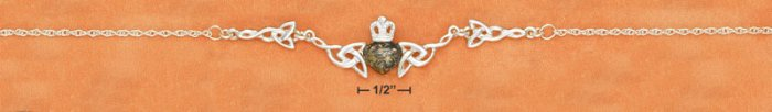 """STERLING SILVER 17"""" GREEN AMBER CLADDAGH & CELTIC LINK NECKLACE"""
