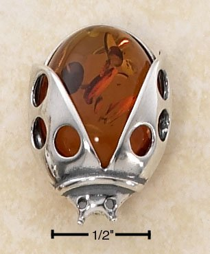 """STERLING SILVER HONEY AMBER LADYBUG PIN (APPROX 1"""")"""