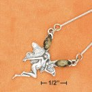 "STERLING SILVER 17"" FAIRY W/ GREEN AMBER ON SNAKE CHAIN NECKLACE"