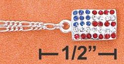 "10"" LT FIG W/ DANGLE AMERICAN FLAG W/ CRYSTALS ANKLET"