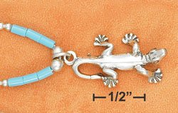 """STERLING SILVER 9""""  ANKLET W/ TURQUOISE HESHI & GECKO PENDANT"""