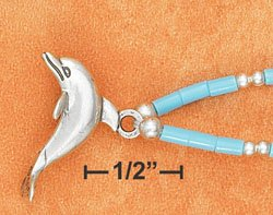 """STERLING SILVER 9""""   ANKLET W/ TURQUOISE HESHI & DOLPHIN PENDANT"""