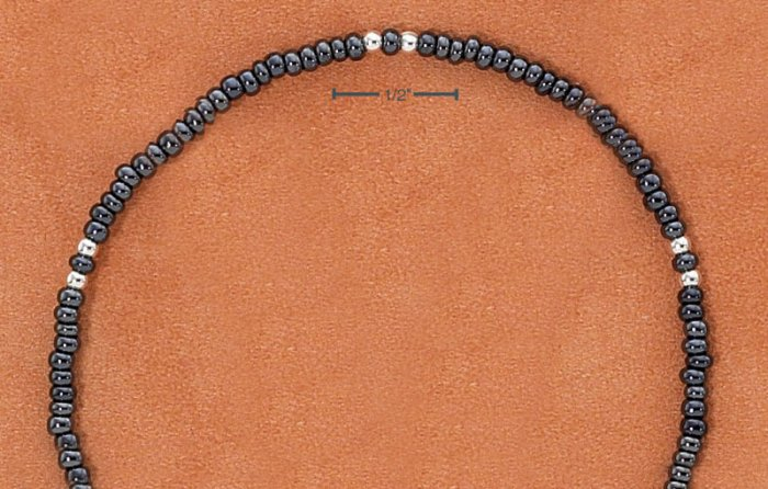 """STERLING SILVER 9"""" SILVER & GRAY PONY BEAD ANKLET"""