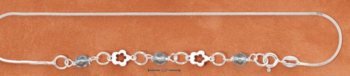 "STERLING SILVER 9-10"" ANKLET W/ CUTOUT FLOWERS & BLUE CRYSTALS"