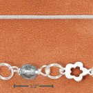 """STERLING SILVER 9-10"""" ANKLET W/ CUTOUT FLOWERS & BLUE CRYSTALS"""