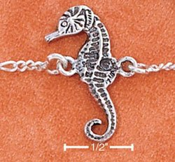 """STERLING SILVER 9"""" FIGARO CHAIN ANKLET WITH SEAHORSE"""