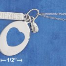 "STERLING SILVER RP 18""  NECKLACE W/ OVAL HEART CUTOUT TAG & ""FRIENDS"" BAR"