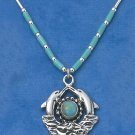 "STERLING SILVER 16"" LIQUID SILVER NECKLACE W/ ROUND TURQUOISE & DOLPHINS"