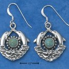 STERLING SILVER DOUBLE DOLPHINS WITH TURQUOISE SUN AND WAVES EARRINGS