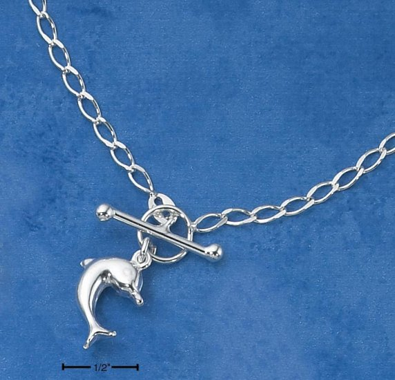 """STERLING SILVER 16"""" DOLPHIN TOGGLE NECKLACE ON OCURB CHAIN"""