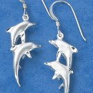 STERLING SILVER HP DOUBLE DOLPHIN EARRINGS ON FRENCH WIRES