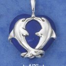 SILVER DBL DOLPHINS ON 25MM BLUE HOWLITE HEART/18 IN CHAIN