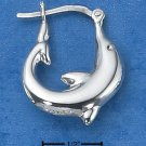 STERLING SILVER MEDIUM CURVED DOLPHIN HOOP EARRINGS