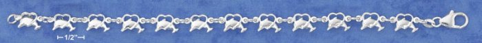 "STERLING SILVER ITALIAN 7"" DOLPHINS JUMPING THROUGH HEARTS LINK BRACELET"