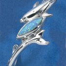 STERLING SILVER DOLPHIN & WRAPPED TAIL W/  BLUE LAB OPAL CUFF BRACELET