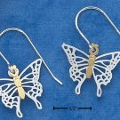 STERLING SILVER /GOLD FLUTTERING BUTTERFLY  EARRINGS