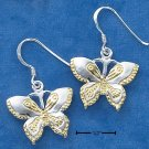 STERLING SILVER/GOLD ETCHED BUTTERFLY FW EARRINGS