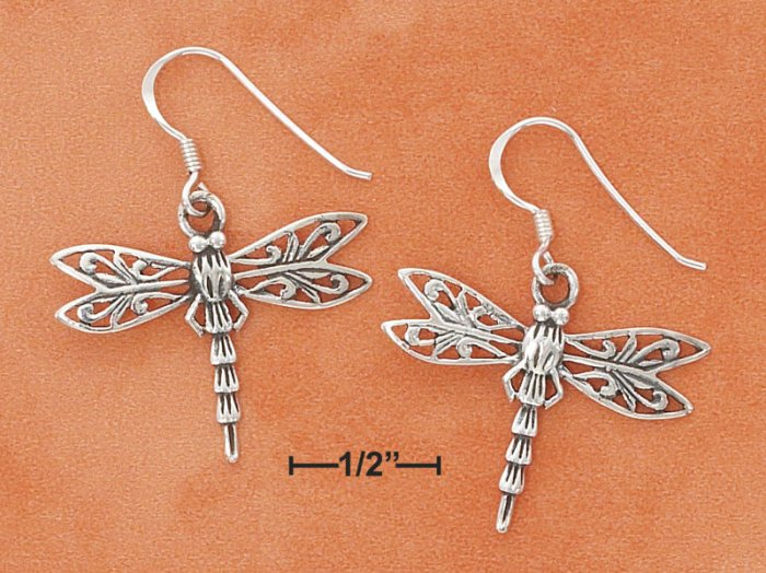 STERLING SILVER ANTIQUED DRAGONFLY FRENCH WIRE EARRINGS