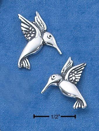 STERLING SILVER MEDIUM HUMMINGBIRD POST EARRINGS