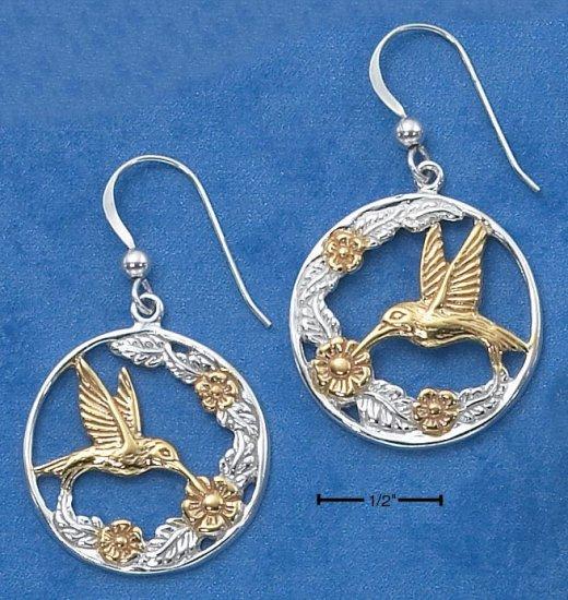STERLING SILVER /14K GOLD HUMMINGBIRD EARRINGS