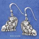 STERLING SILVER ANTIQUED MAMA CAT HUGGING KITTEN FW EARRINGS