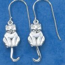 STERLING SILVER CAT W/ SWINGING TAIL  EARRINGS