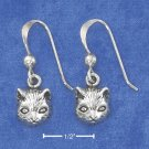 STERLING SILVER ANTIQUED CAT FACE FRENCH WIRE EARRINGS