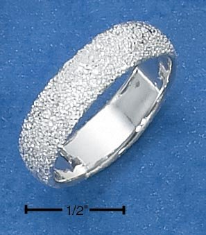 GORGEOUS STERLING SILVER WOMENS 5MM WIDE  STARDUST BAND.