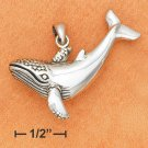 """STERLING SILVER LARGE WHALE CHARM (1.5"""")"""