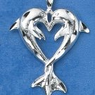 STERLING SILVER   KISSING DOLPHIN PENDANT W/ ENTWINED TAILS