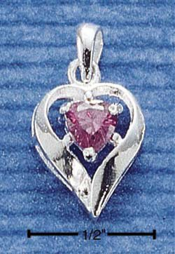 STERLING SILVER FEBRUARY CZ HEART CHARM