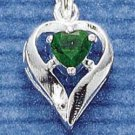 STERLING SILVER MAY CZ HEART CHARM