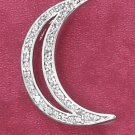 STERLING SILVER CZ CRESCENT MOON PENDANT