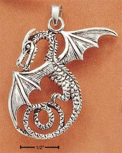 STERLING SILVER LARGE FLYING DRAGON CHARM