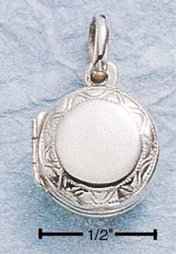 STERLING SILVER SMALL ROUND ENGRAVED BORDER LOCKET