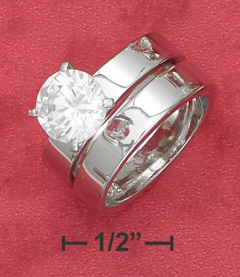 STERLING SILVER  2CT ROUND C Z  SOLITAIRE WEDDING SET