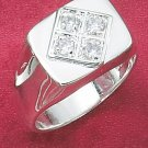 STERLING SILVER MEN'S RING W/ DIAMOND SHAPE DESIGN & FOUR ROUND CLEAR CZ'S