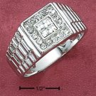 STERLING SILVER MENS RING WITH 4 PRINCESS CUT CLEAR CZ'S WITH ROUND CZ BORDER.
