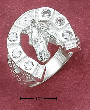 STERLING SILVER MENS 6 CZ HORSESHOE RING W/ HORSEHEAD IN CENTER