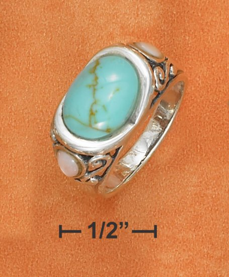 STERLING SILVER   OVAL TURQUOISE FILIGREE RING