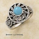 STERLING SILVER FILIGREE SUN DESIGN W/ TURQUOISE CENTER STONE RING.