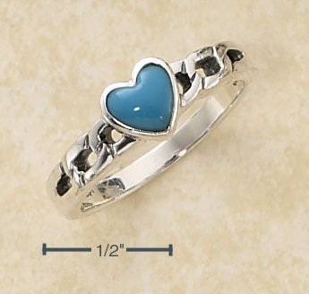 STERLING SILVER SMALL TURQUOISE HEART ON OPEN CURB LINK BAND .