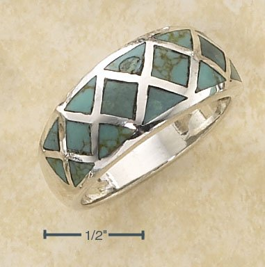 STERLING SILVER GRADUATED CROSS HATCH DESIGN TURQUOISE INLAY RING.